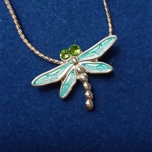 Critters Pendant Necklace silver tone dragonfly